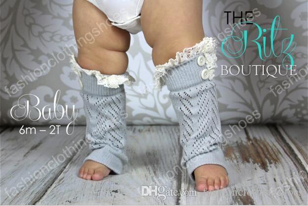 Calentadores de la pierna de punto de encaje del bebé Calentadores de la pierna del ajuste del cordón del ganchillo bebé Botines de la cubierta de los calcetines Botón Calentadores de la pierna del cordón del botón