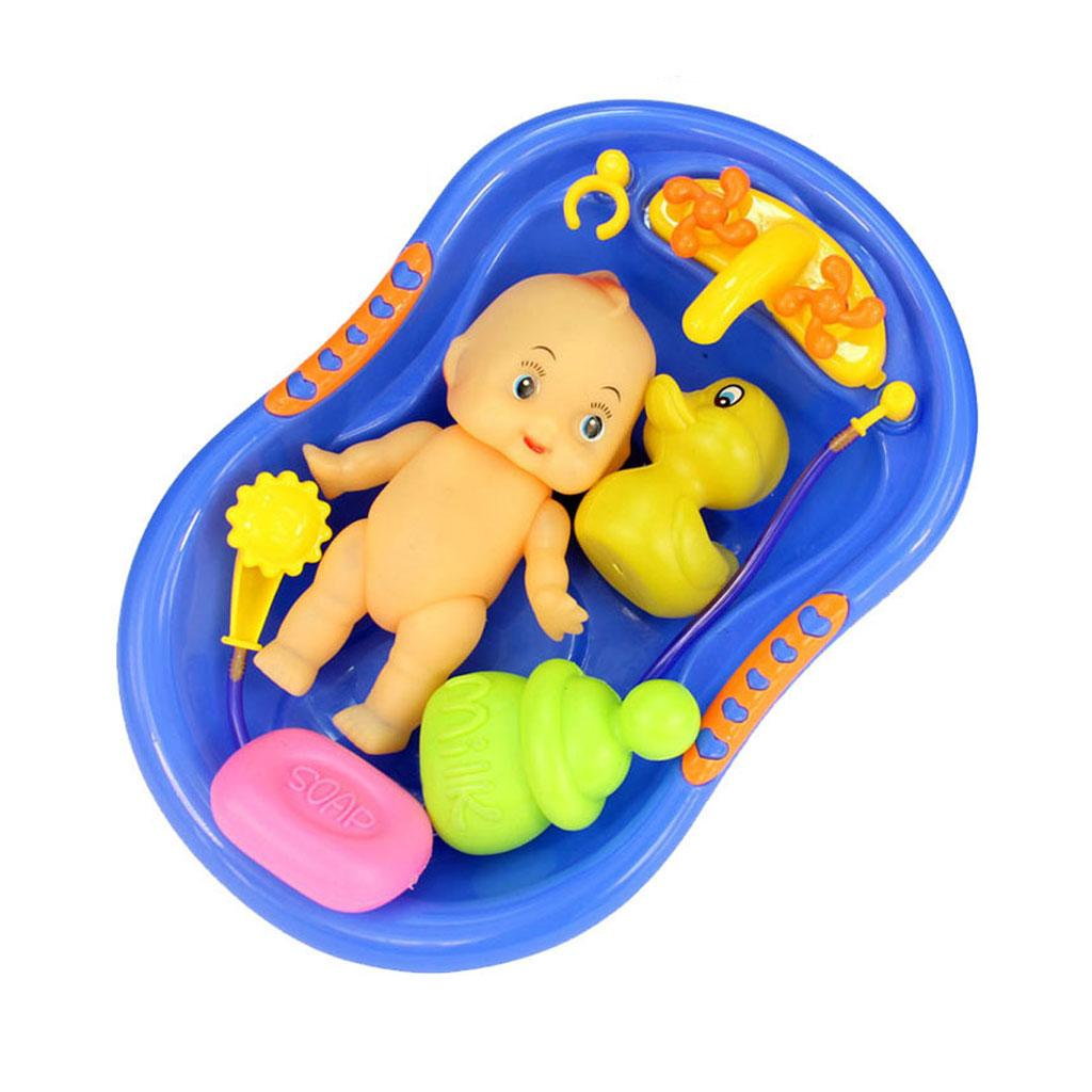 2018 Wholesale Blue Plastic Bathtub With Baby Doll Bath Toy Set ...