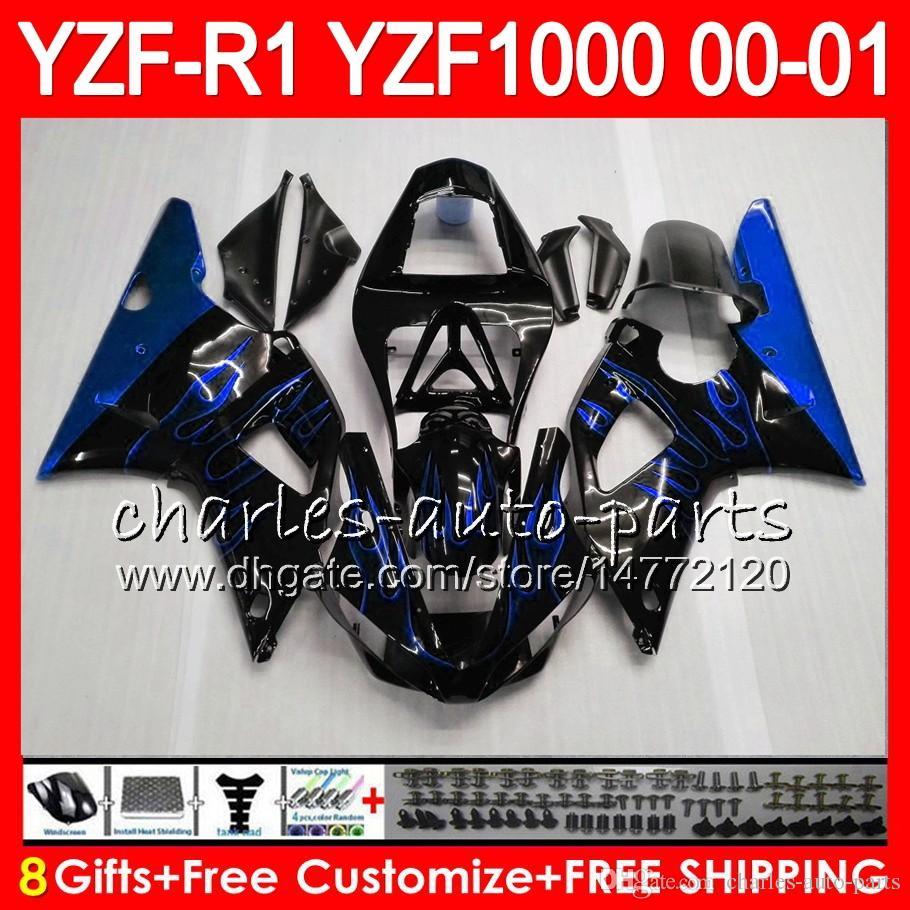 Karosseri för Yamaha YZF1000 YZFR1 00 01 98 99 YZF-R1000 Body 74HM19 Blue Flames YZF 1000 R 1 YZF-R1 YZF R1 2000 2001 1998 1999 Fairing Kit
