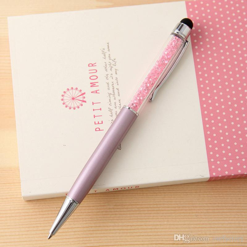 Wholesale - Luxury Diamond Crystal 2 in 1 Touch Screen Rhinestones Capacitive Stylus Ball Pen For Mobile Phone PC Tablet iPad 100ps