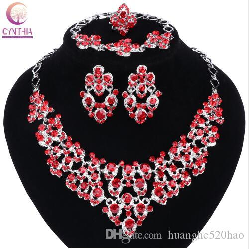 Top Exquisite Silver Colors Crystal Embedded Scarf Pattern Necklace Bracelet Earring Ring African Beads Jewelry Set