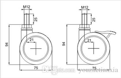 75mm screw furniture caster Medical bed Full plastic universal instrument caster chair swivel Medical Equipment wheel