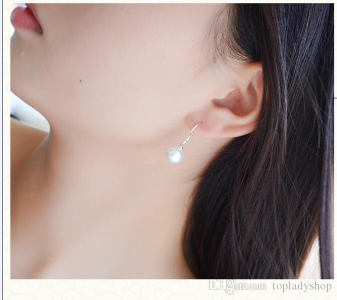 8MM natural freshwater pearl earring natural pearl ear cuff pearl earring wholesale