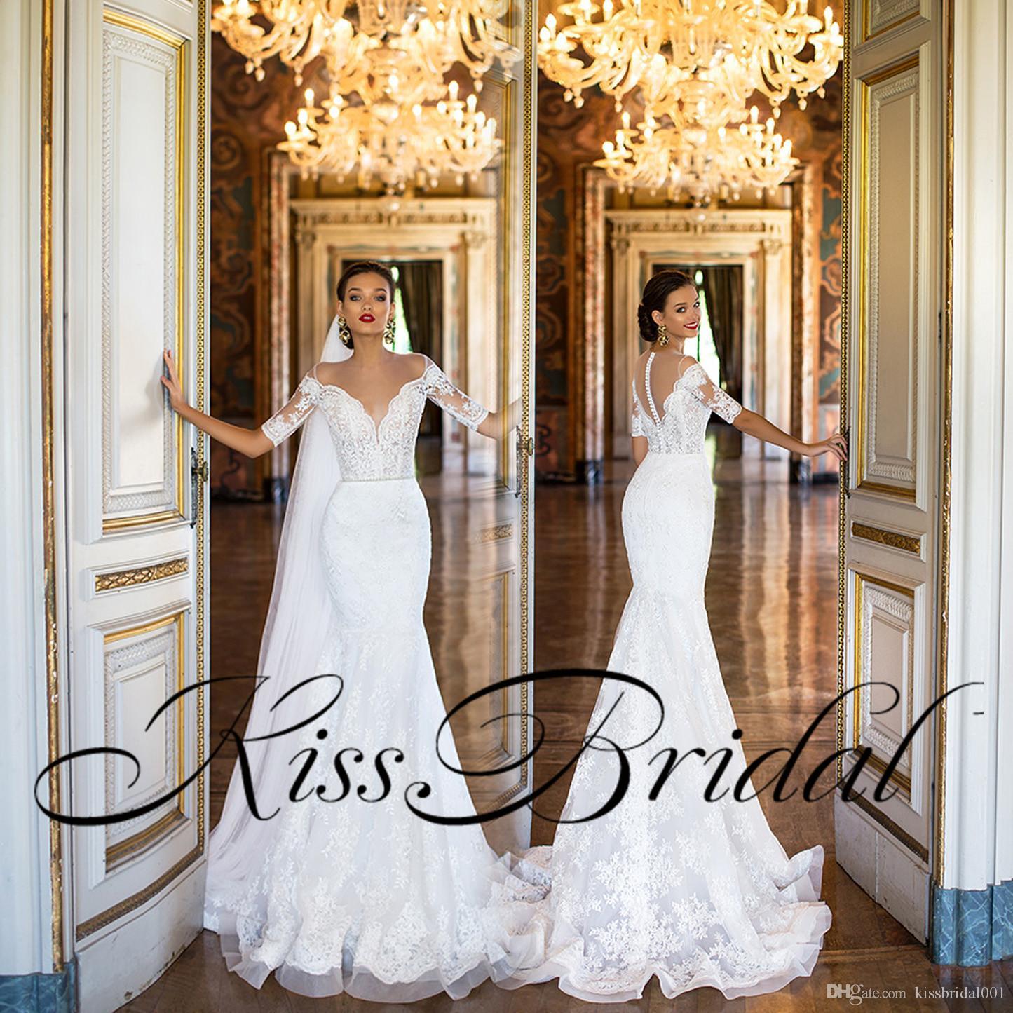 mermaid lace 2018 wedding dresses vintage full lace half long