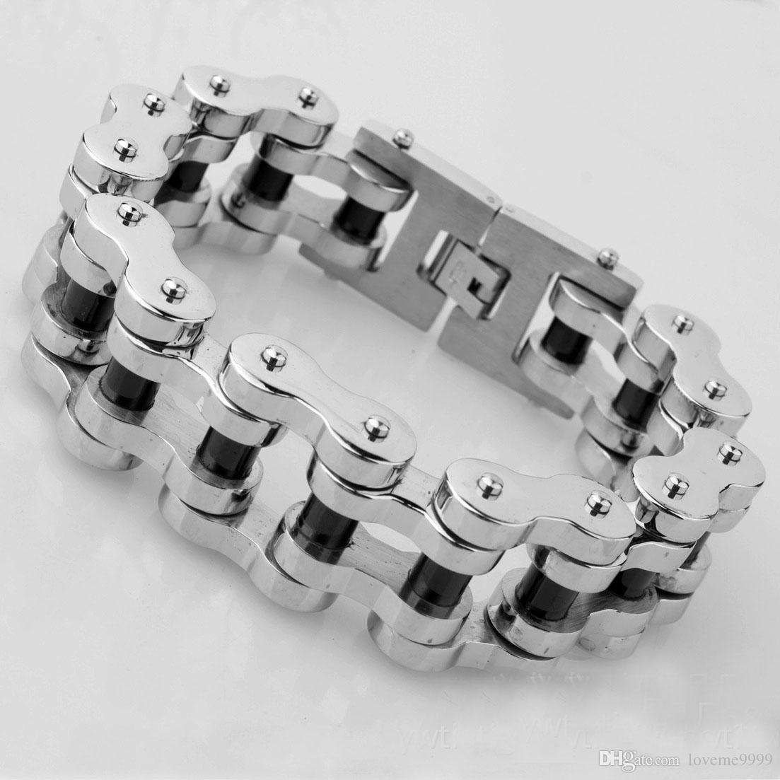 Нержавеющая сталь 316L титана 23 мм в ширину 23 см длиной Тяжелые байкерские велосипедные цепные браслеты Браслеты Полированный Brace кружева Мужчины Мото ювелирные изделия