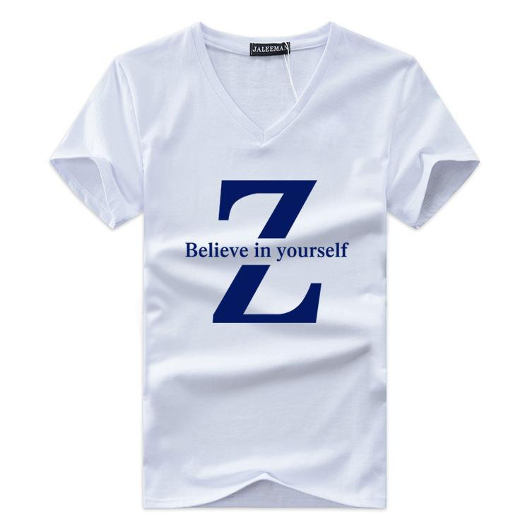 eb261ed7432 pure color v-neck printed letters men s short sleeve T-shirt t-shirts  wholesale cotton half sleeve cultivate one s morality