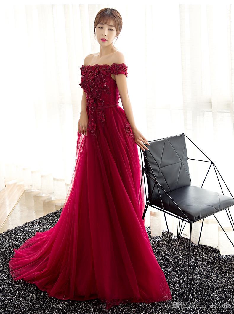 Compre Precioso Rojo Oscuro Vestidos De Noche Sexy Sin Tirantes Con  Cordones Espalda Plisado Tul Apliques De Encaje Con Lentejuelas Largo  Vestido De Fiesta ... dc874464a1e4