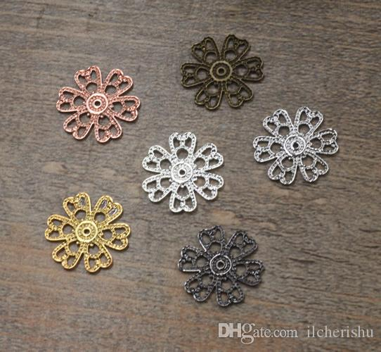 07551 15mm antique bronze/silver/rose gold/gun black filigree flower charms for jewelry making, vintage metal necklace pendants for bracelet