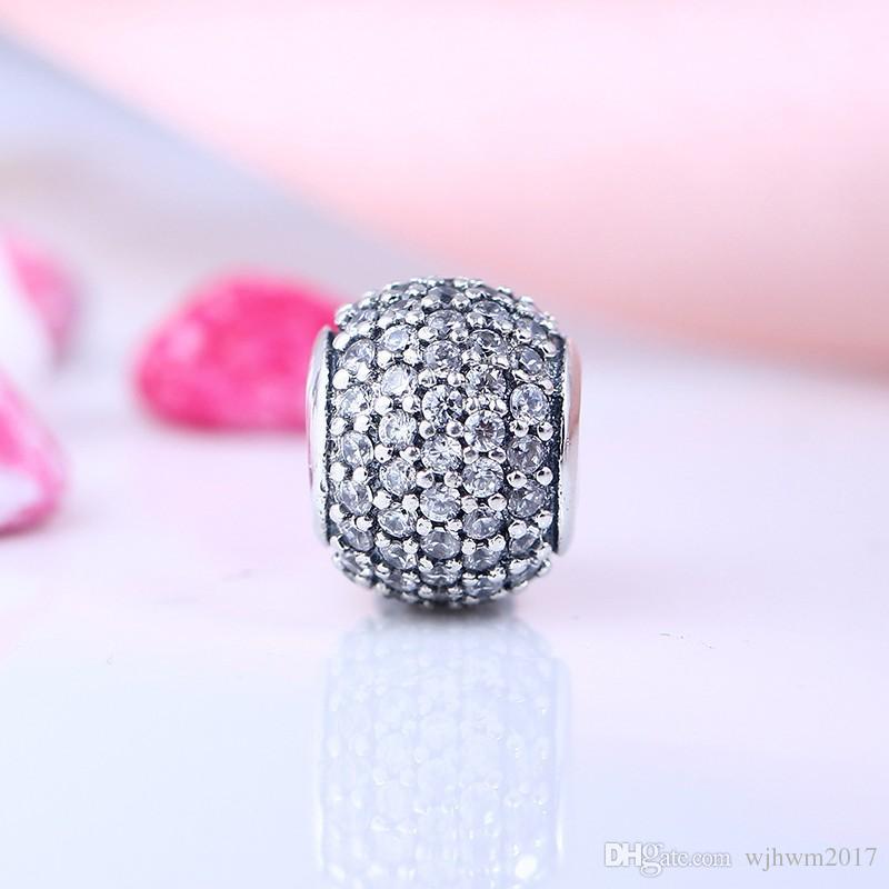 Se adapta a Pandora Charms pulsera 100% 925 joyería de plata esterlina bolas de cristal patrón europeo encanto joyería de DIY que hace accesorios