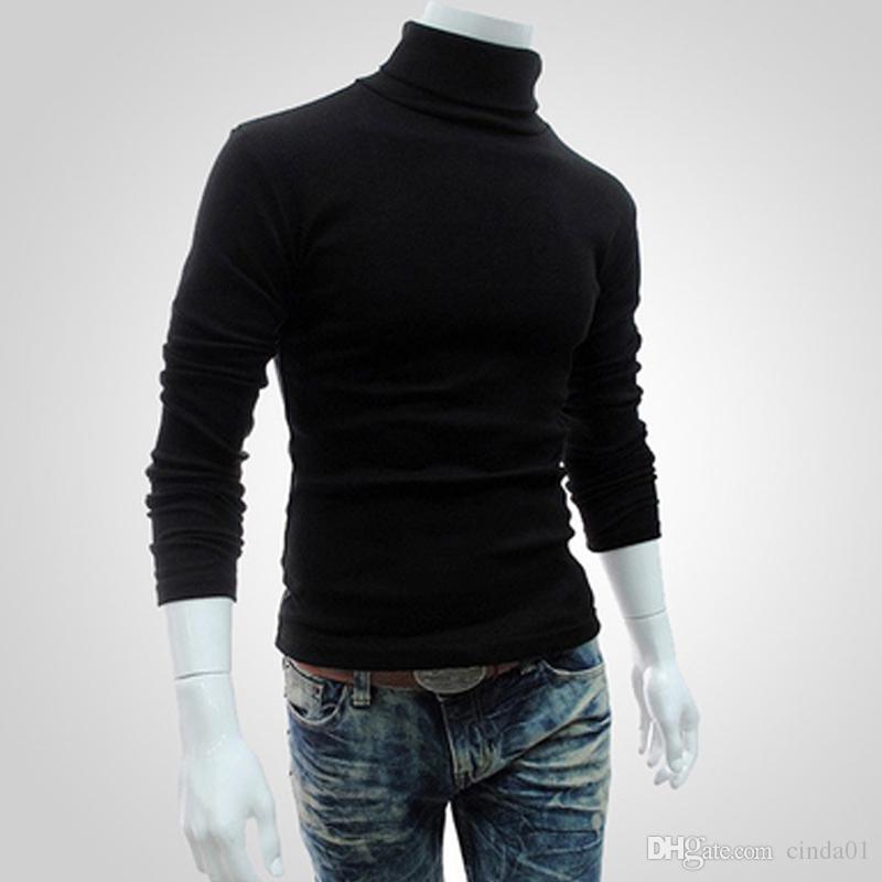 Homens Bottoming Tops Queda Magros Camisolas Outono Quente Gola Alta Blusas Pullovers Preto Roupas Para O Homem De Algodão Camisola de Malha Blusas Masculinas