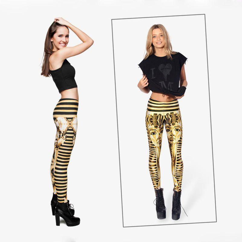 Women Leggings Gold Tutankhamen 3D Graphic Print Lady Striped Stretchy Tight Capris Fitness Girls Workout Pencil Fit Yoga Trousers J29609