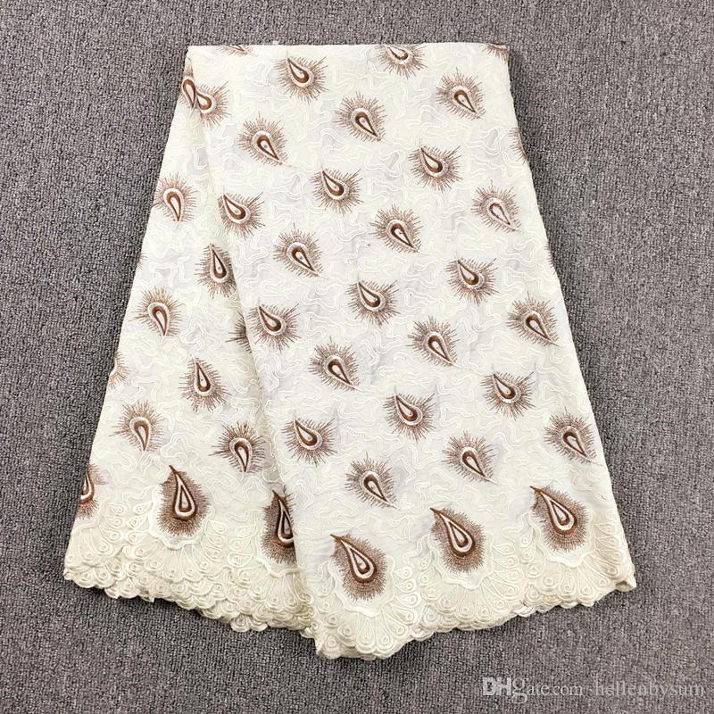 Cordón de voile suizo africano de alta calidad 067, envío gratis 5 yardas / paquete, ropa de encaje de voile de boda africano 100% algodón