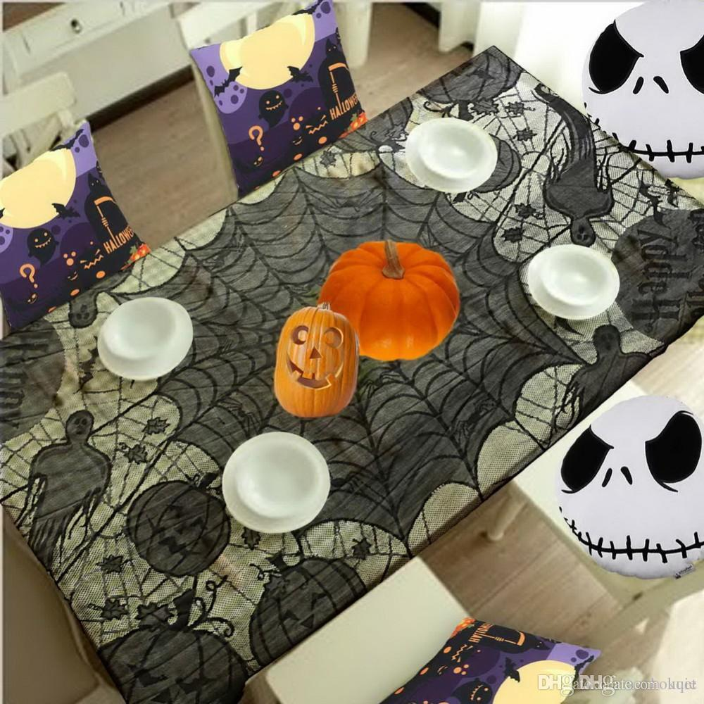Halloween tablecloths - Wholesale Grisly Bloody Spider Web For Halloween Decoration Black Polyester Halloween Tablecloth Tablecover Festive Party Supplies Inexpensive Tablecloths