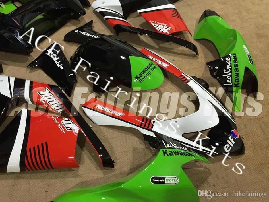 Three free beautiful gift new high quality ABS fairing plates for Kawasaki Ninja ZX-10R ZX10R 2004-2005 bodywork set Red white green black 1