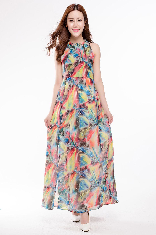 f9a3ae0dbc ful Printed Chiffon Dresses For Women High Quality Oversized Summer Beach  Dress Long Design Sleeveless Dress 3xl SQ 051 From Vanessa918