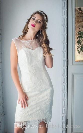 Простое летнее колено длина кружева оболочка свадебное платье дешевые 2018 новый рукавов молния обратно свадебные платья