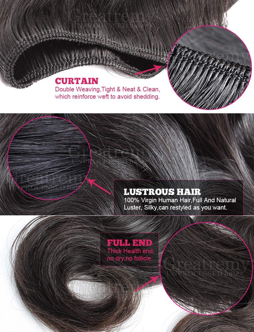 Greatremy® Hair Weft Weave Peruvian Virgin Human Hair Extensions Body Wave Hair Bundles Natural Color Dyeable