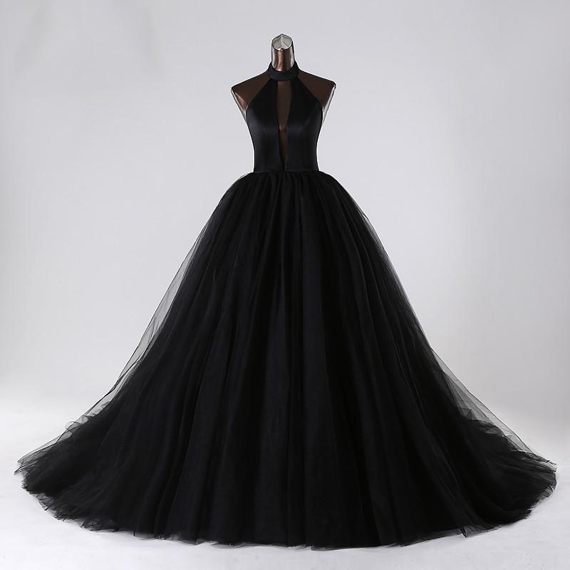 compre vestidos de novia negro 2017 una línea de tul profundo escote
