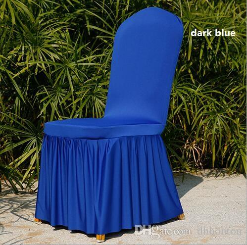Chair covers Wedding Banquet Slipcover Decoration High Quality Pleated chair Skirt Style Chair Covers Elastic Spandex HT056