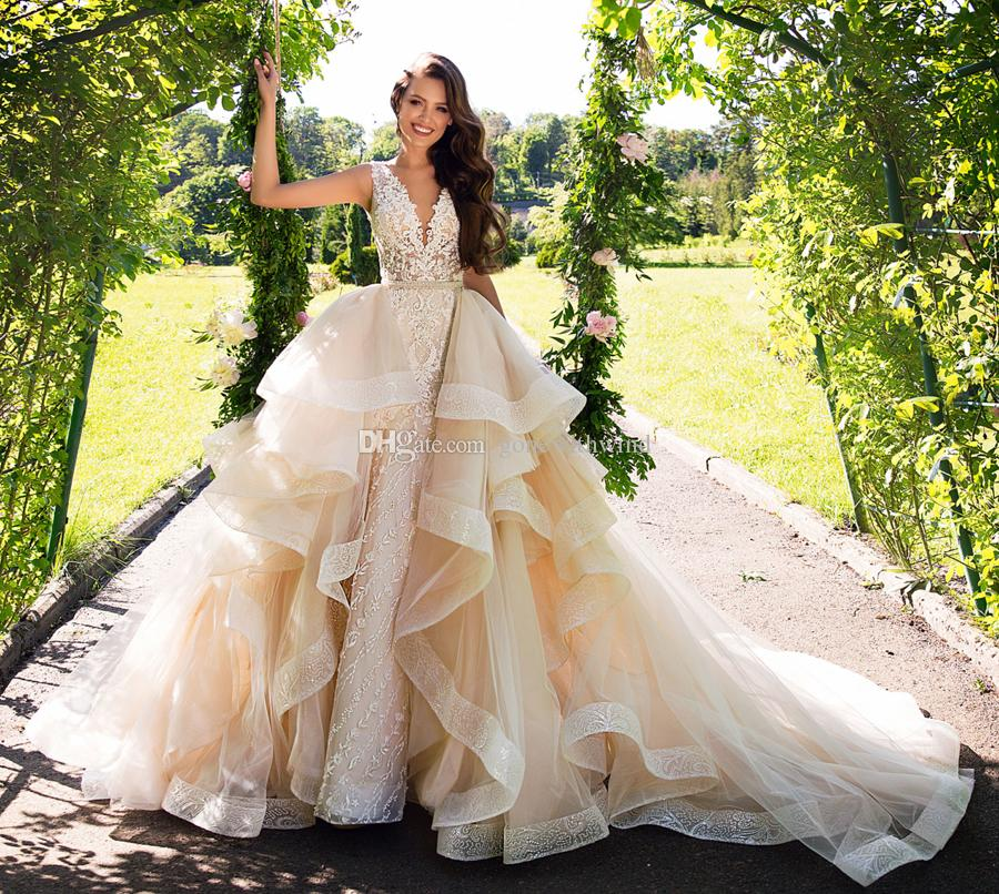 Detachable Ball Gown Overskirt Mermaid Lace Wedding