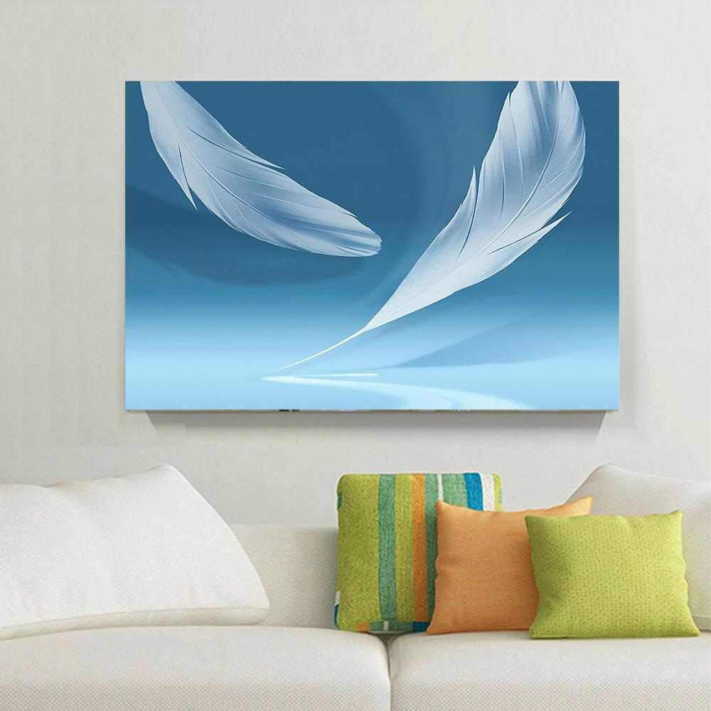 1 Panels White Feather Light Blue Modern Photo Print Simple Wall ...