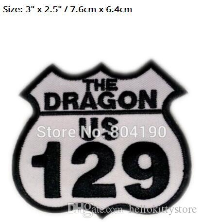 "3"" US 129 THE DRAGON US Motor cycle MC JACKET Chest EMBROIDERED PATCH Biker Vest punk applique iron on patches for clothing"