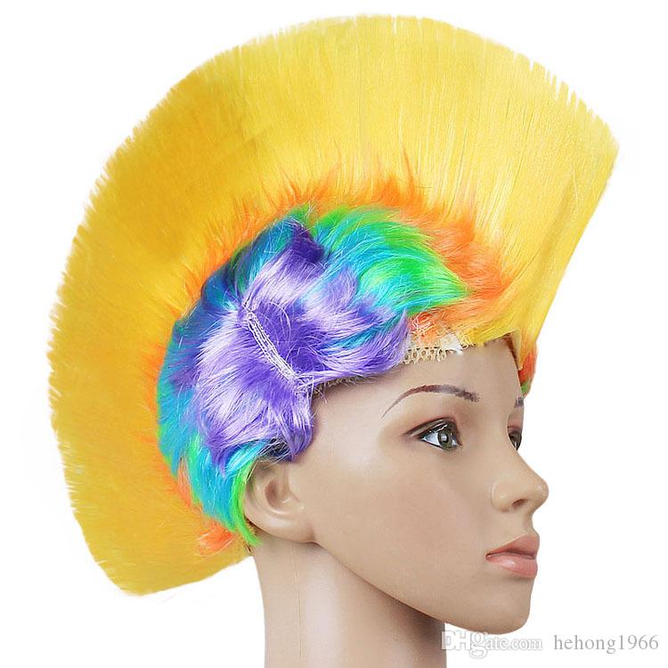Punk Hairpiece Halloween Cockscomb Shape Wig Funny Holiday Party Supplies Dresses Headdress Masquerade Periwig Multi Colour 5 5jh C R