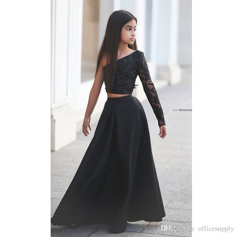 Arabe Dit Mhamad Noir Une Épaule À Manches Longues Enfants Robes De Bal Une Ligne Deux Pièce Perlé Fleur Filles Robes 2017