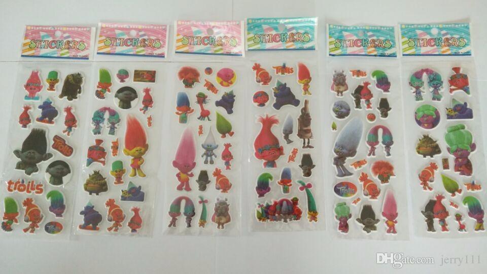 Trolls Poppy Sticker Modello 3D Cartoon Bambini Scuola Ricompensa Wall Desk Stickers Scrapbook Giocattoli bambini Adesivi bambini Giocattoli regalo LC447-1