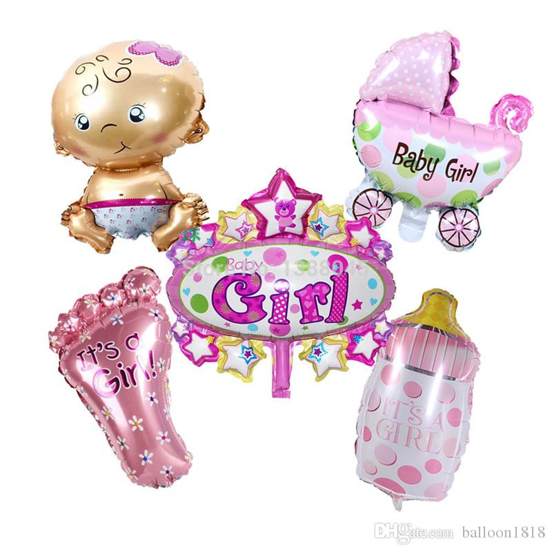 mini balloon baby shower party foil baby boy girl foot cloth bottle balloons Birthday Decoration baloes de festa