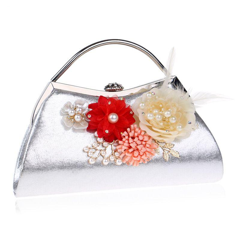 Women Clutches Purses Bags Flower Beaded Prom Wedding Evening Handbag Flower Evening Clutch Bags Pearl Beaded Handbag