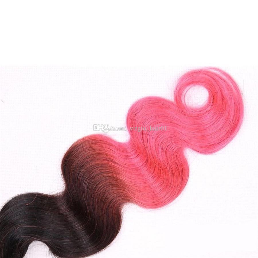 Üç Ton Renkli Brezilyalı Virgin İnsan Saç Dokuma Ombre 1B / 4 / Pembe Vücut Dalga 3 Demetleri 100 g / adet Kahverengi Gül Altın Ombre Saç