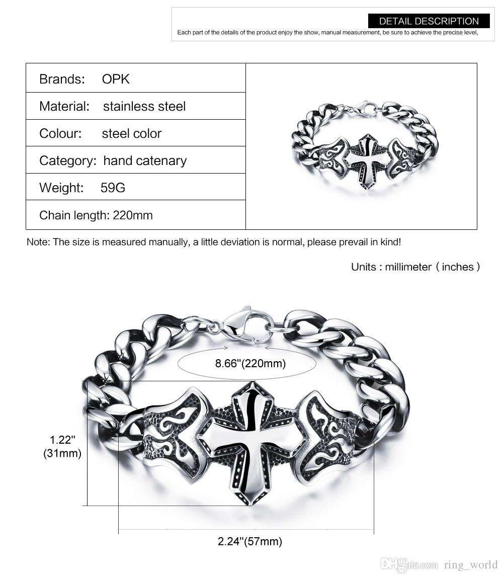 Antique Cross Design Man Bracelets New Fashion 316L Stainless Steel Men Jewelry Heavy Metal Chunky Link Chain FGS800