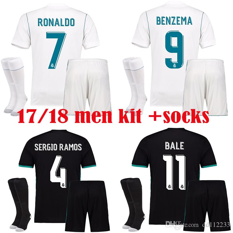 2019 17 18 RONALDO JAMES BALE RAMOS ISCO Jersey 2018 Real Madrid Men Set  Soccer Jerseys Real Madrid Home White Away Black Jersey Kit + Socks From  Dd112233 e21586a4b