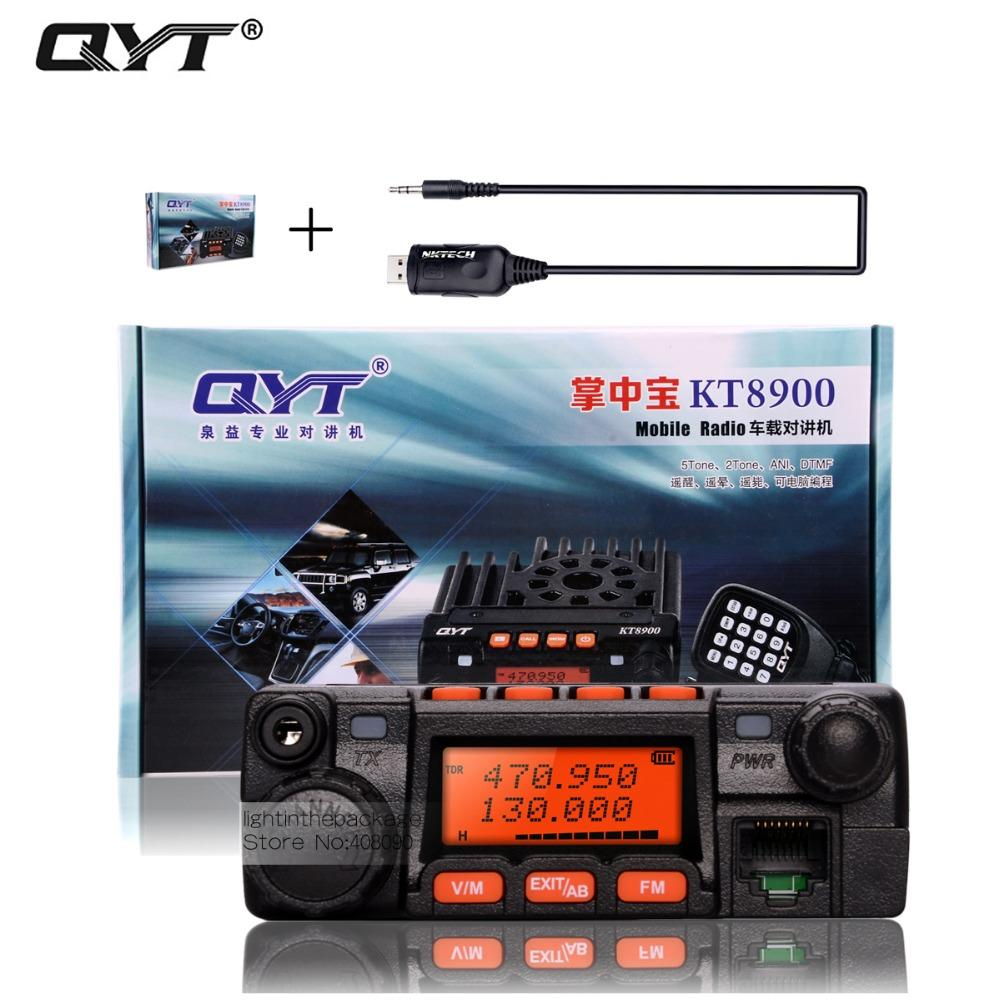 Wholesale- qyt kt-8900 kt8900 vhf uhf mobile radio transceiver kt8900 mini  car bus army mobile vhf two way radio station usb cd