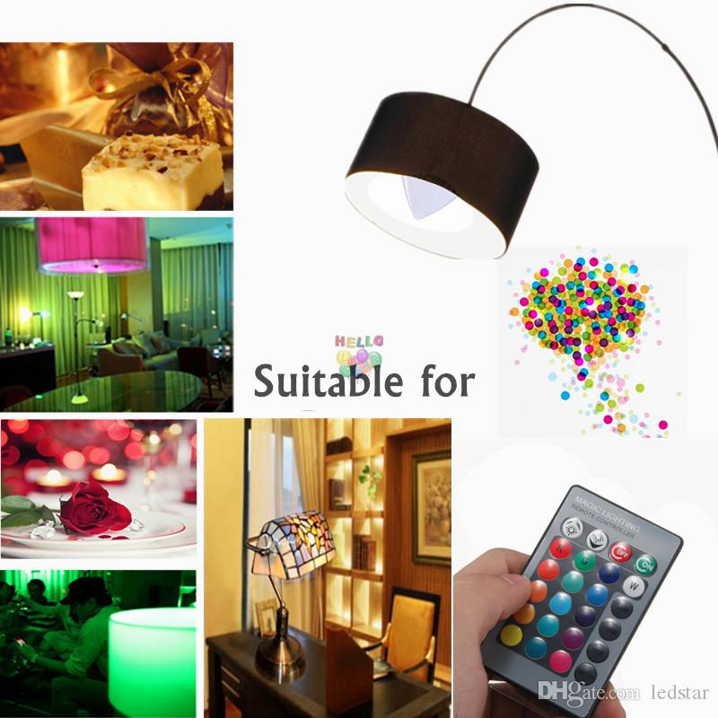 3W RGB Led Lights E12 E14 Led Candle Bulbs Lámpara es Change + 24keys IR Remote Control