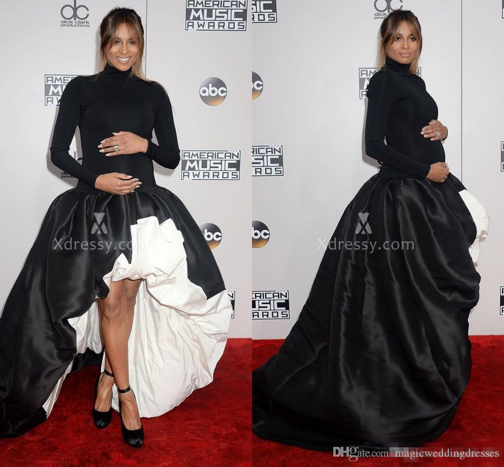 Ciara Black Pregnant Evening Gowns Long Sleeve High Low Red Carpet ...