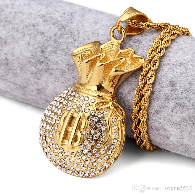 18k Gold Plated Purse Pendant Necklace Rhinstone US Dollar Sign Cool Fashion USD Money Bag Shape Hip Hop Men Jewelry For Gifts