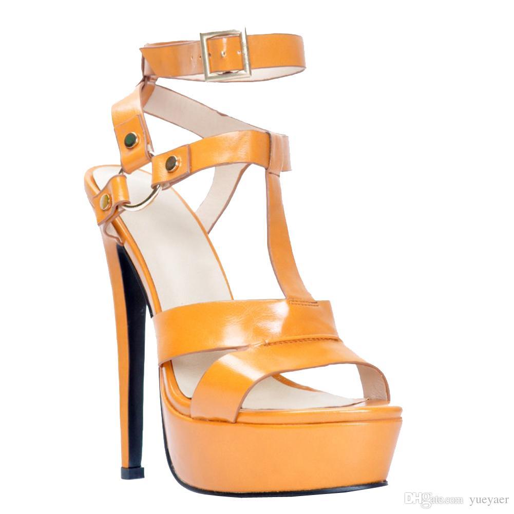 Zandina 여자의 수제 패션 145mm 숙녀 높은 발 뒤꿈치 플랫폼 검투사 샌들 버클 발목 신발 브라운 XD217