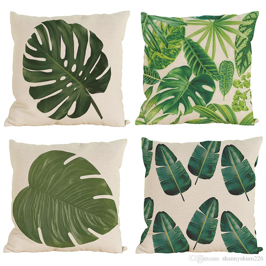 Novelty Tropical Plant Pattern Linen Pillowcase Sofa Home Decor Cushion Cover Throw Pillow Case Without Insert18*18inch