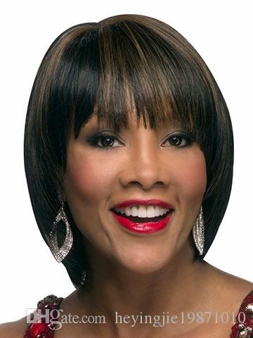 Xiu Zhi Mei Highlights Brown Black Cheap Bob Wigs With Bangs Heat Resistant Synthetic Cutting Straight Hair For Women
