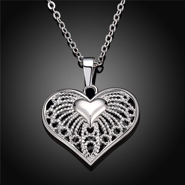 Сердце женщины стерлинговые серебряные тарелки ожерелье, мода 925 серебряное кулон ожерелье с цепями GN720