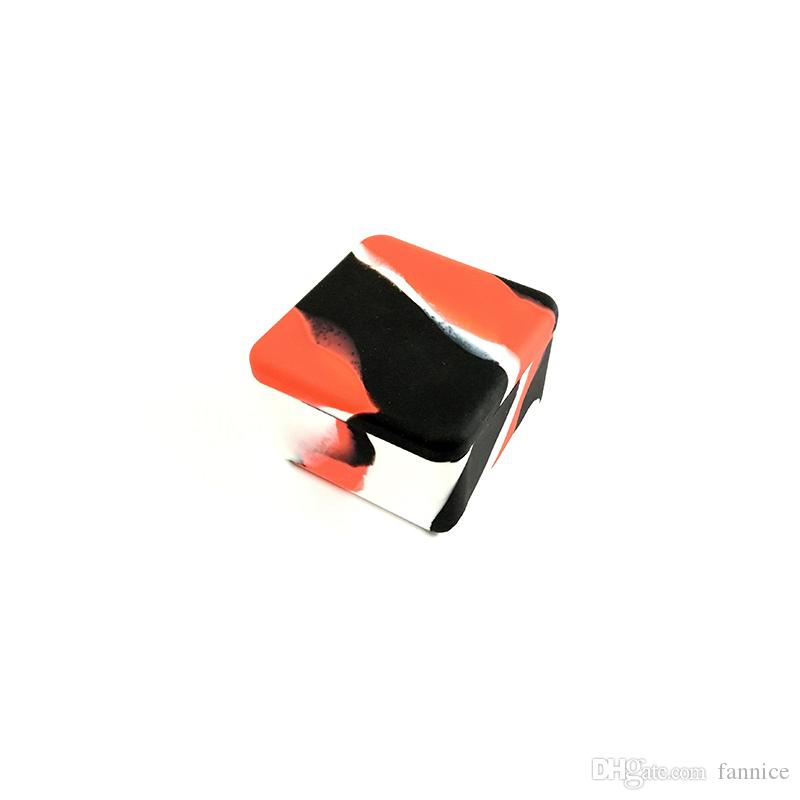 Big Square Silicone Wax Jar 37ml Aceite de cera de silicona antiadherente Dab Jars Contenedores Contenedor de almacenamiento para cera concentrada