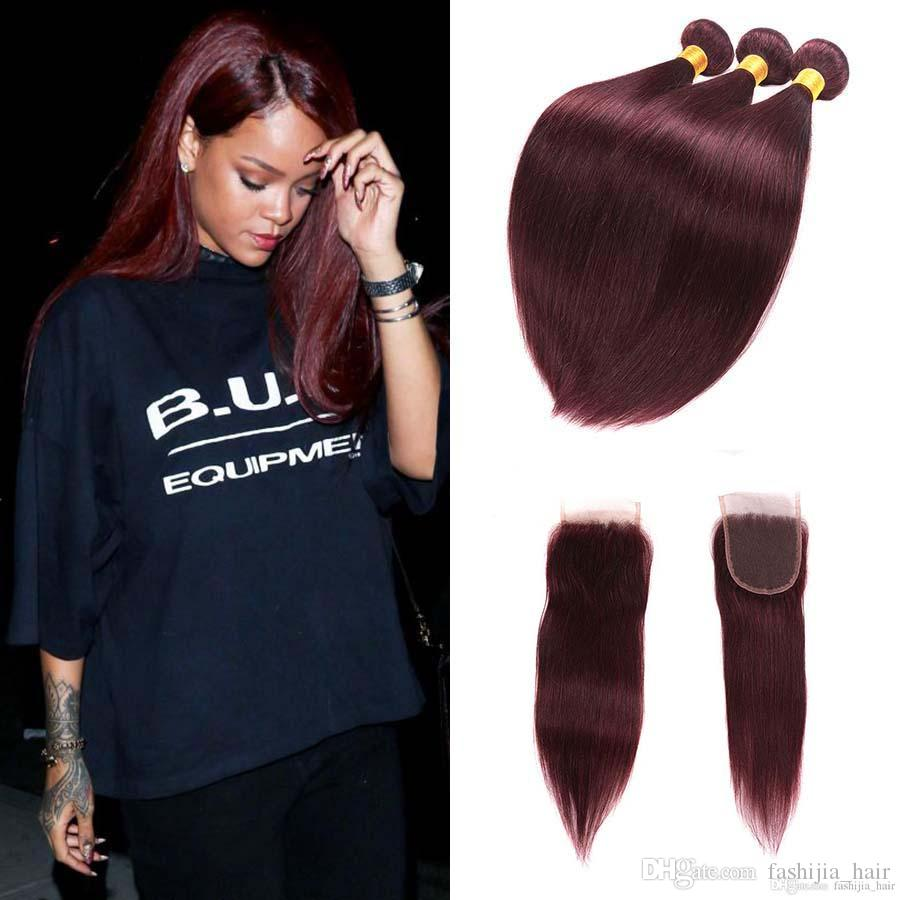 2018 Burgundy Dark Wine Red Brazilian Virgin Hair Weave Closure