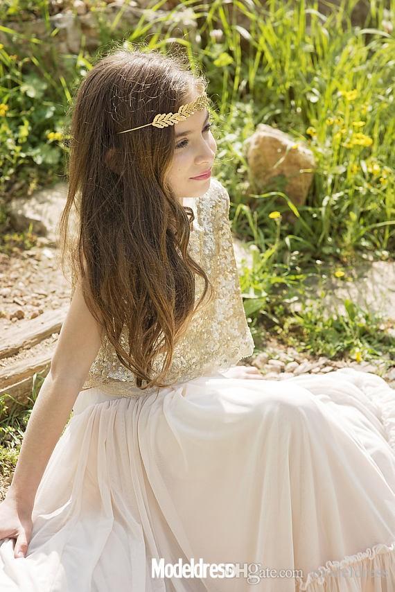 Due pezzi Boho Country Flower Girls Abiti matrimoni spiaggia 2019 paillettes piano lunghezza bambino usura formale prima comunicazione vestito economico