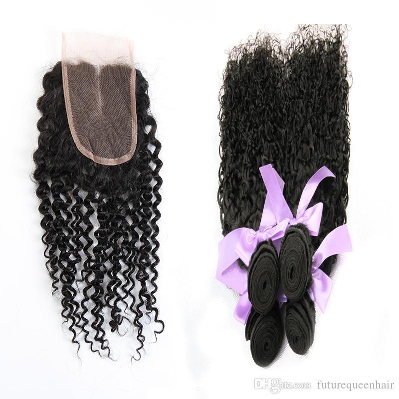 7A Cheveux Brésiliens Crépus Bouclés 3 Faisceaux Avec Fermeture Libre ou Partie Moyen 100% Non Transformés Brésilien Péruvien Mongol Kinky Bouclés Cheveux