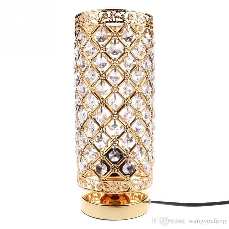 Modern Table Lamp Crystal Bedside Desk Light Home Shade Lighting ...