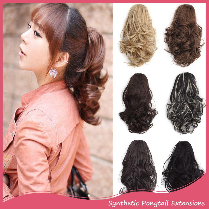 Wholesale Ponytail Hair Extensions 12inch Women Short Curly Dual Use