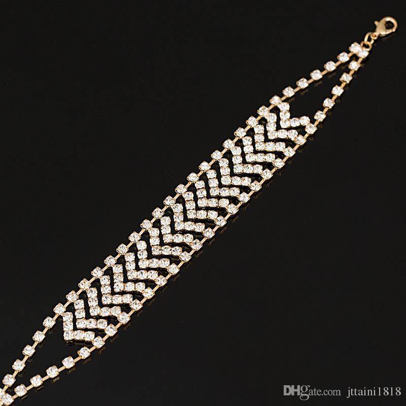 Bracciale in cristallo placcato oro e argento ragazza 2017 gioielli in pietre preziose con pietre preziose