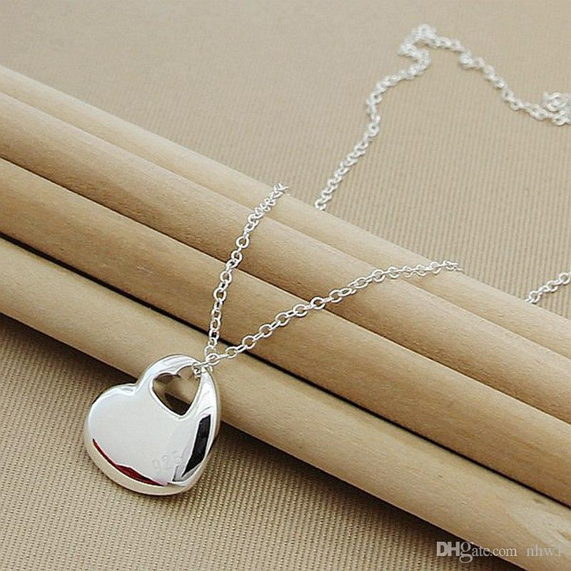 Fashion New Arrival 925 Sterling Silver Jewelry Charm Love Heart Pendant Snake Chain Necklaces For Women Girls Gift